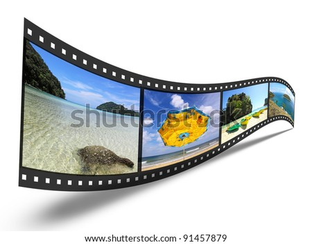 3D film strip with nice pictures - stock photo