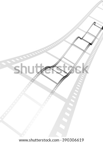 3d filmstrips. Object isolated on white background - stock photo