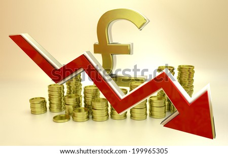 3D finance graph - currency collapse - British Pound. - stock photo