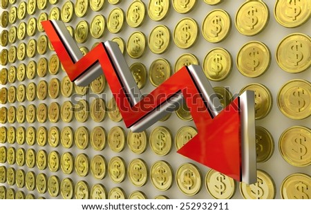 3D finance graph - currency collapse - dollar coins on background - stock photo