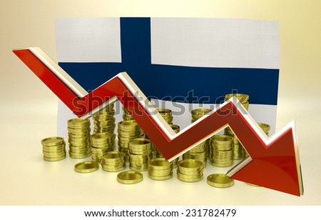 3D finance graph - currency collapse - Finland - stock photo