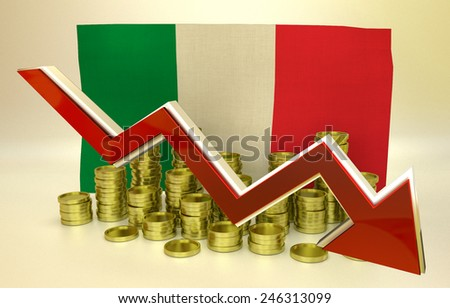 3D finance graph - currency collapse -  Italian economy - stock photo