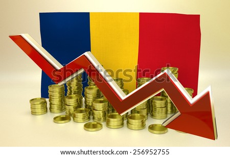 3D finance graph - currency collapse -  Romanian economy - stock photo