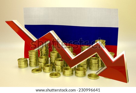 3D finance graph - currency collapse - Russian ruble - stock photo