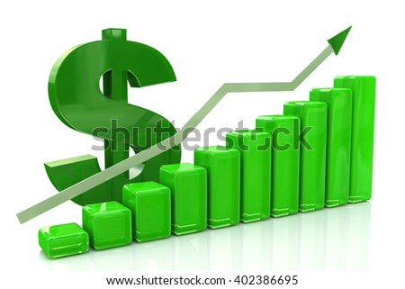 3D finance graph - rise of the dollar.3D Illustration - stock photo