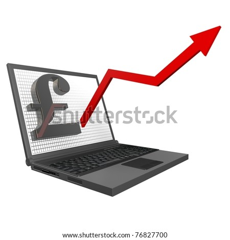 3d Financial Statistics British - Pound, rising graph of the laptop up on a white background