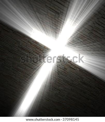 3d fine  image,  Christian cross of light background - stock photo
