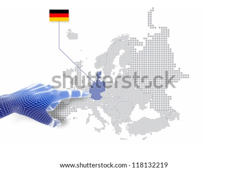 3d Finger touch on display German map and flag.