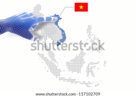 3d Finger touch on  display Vietnam map and flag. - stock photo