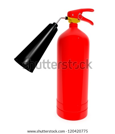 3D fire extinguisher isolated on white background