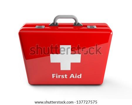 3d first aid box - stock photo