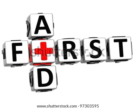 3D First Aid Crossword Block Button text over white background - stock photo