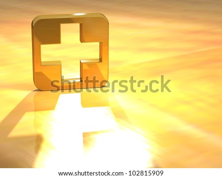 3D First-aid Gold Sign over yellow background - stock photo