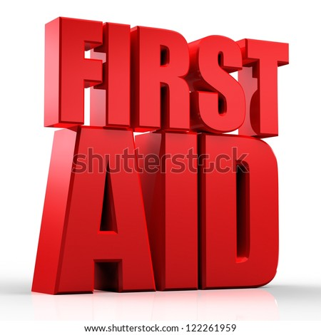 3d First Aid text isolated over white background - stock photo