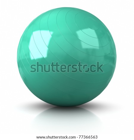 3D Fitness Ball. Clipping path included. - stock photo