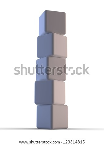 3d five cube towers