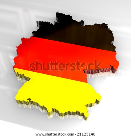 3d flag map of germany - stock photo
