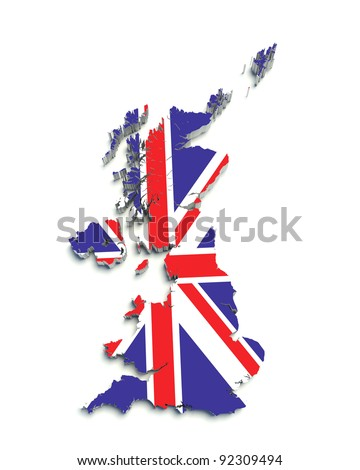 3D flag map of Great Britain on white isolated - stock photo