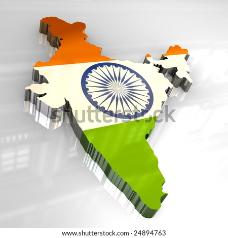 3d flag map of India - stock photo