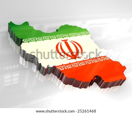 3d flag map of Iran - stock photo