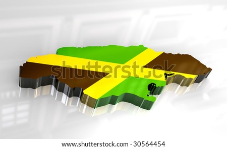 3d flag map of Jamaica