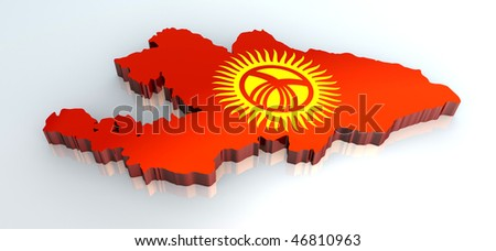 3d flag map of kyrgyzstan
