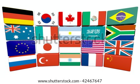 3d flag objects created as Great twenty flags, white background