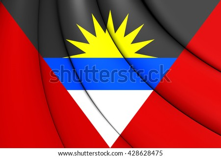 3D Flag of Antigua and Barbuda. Close Up. - stock photo