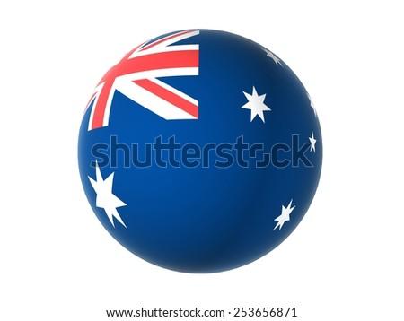 3D flag of Australia, sphere isolated on white background - stock photo