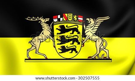 3D Flag of Baden-Wurttemberg, Germany. Close Up.  - stock photo
