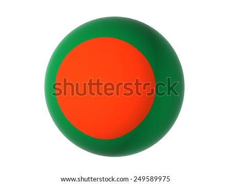 3D flag of Bangladesh, sphere isolated on white background  - stock photo