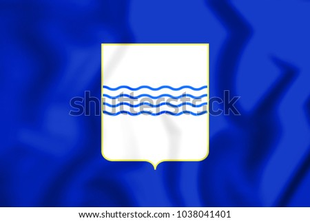 3D Flag of Basilicata Region, Italy. 3D Illustration.