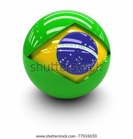 3D  - Flag of Brazil - stock photo