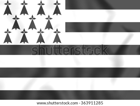 3D Flag of Brittany Region, France. Close Up. - stock photo