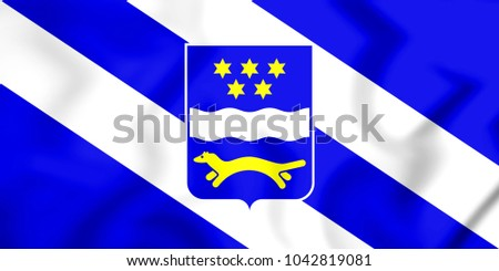 3D Flag of Brod-Posavina County, Croatia. 3D Illustration.