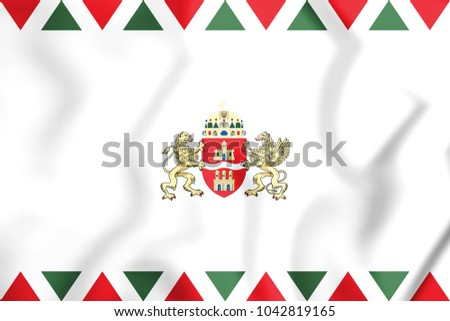 3D Flag of Budapest, Hungary. 3D Illustration.