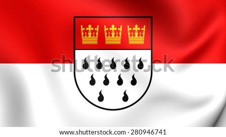 3D Flag of Cologne, Germany. Close Up.    - stock photo