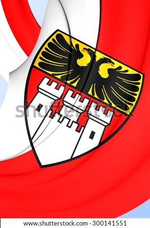 3D Flag of Duisburg City, Germany. Close Up. - stock photo