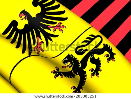 3D Flag of Duren, Germany. Close Up. - stock photo