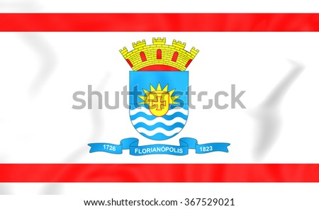 3D Flag of Florianopolis (Santa Catarina), Brazil.   - stock photo
