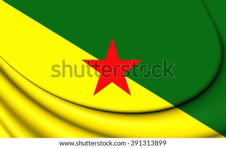 3D Flag of French Guiana. Close Up.    - stock photo