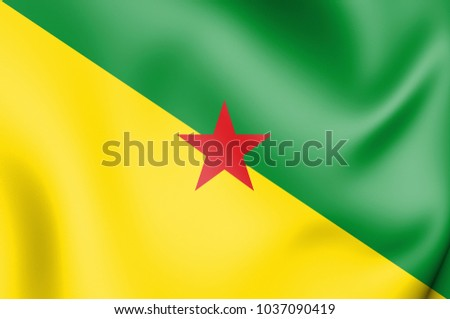 3D Flag of French Guiana. 3D Illustration.