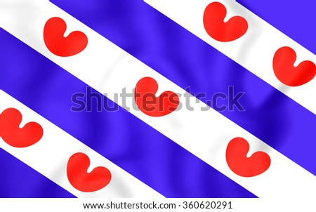 3D Flag of Friesland, Netherlands. Close Up. - stock photo