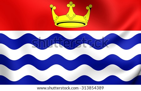 3D Flag of Greater London Region, England. Close Up. - stock photo