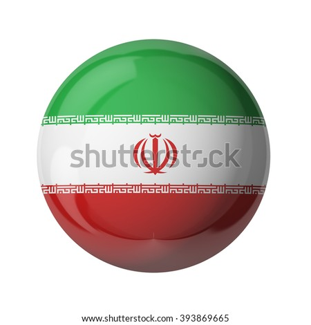 3D flag of Iran isolated on white