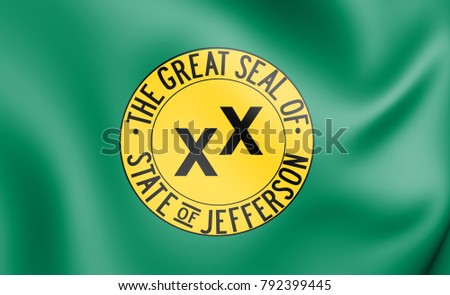 3D Flag of Jefferson state (proposed), USA. 3D Illustration.