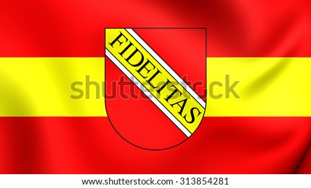 3D Flag of Karlsruhe City (Baden-Wurttemberg), Germany. Close Up.    - stock photo