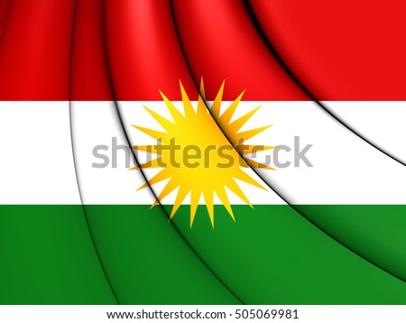 3D Flag of Kurdistan. 3D Illustration.