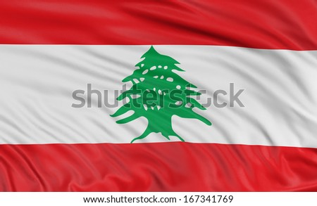 3D flag of Lebanon