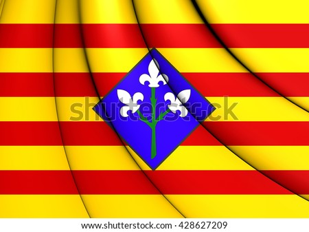 3D Flag of Lleida Province, Spain. Close Up. - stock photo